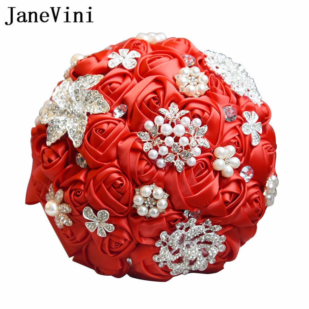 JaneVini Shiny Crystal Pearl Red Bridal Bouquet With Diamond Luxury Rhinestone Brooch Wedding Bride Flower Bouquets Ramos Flores