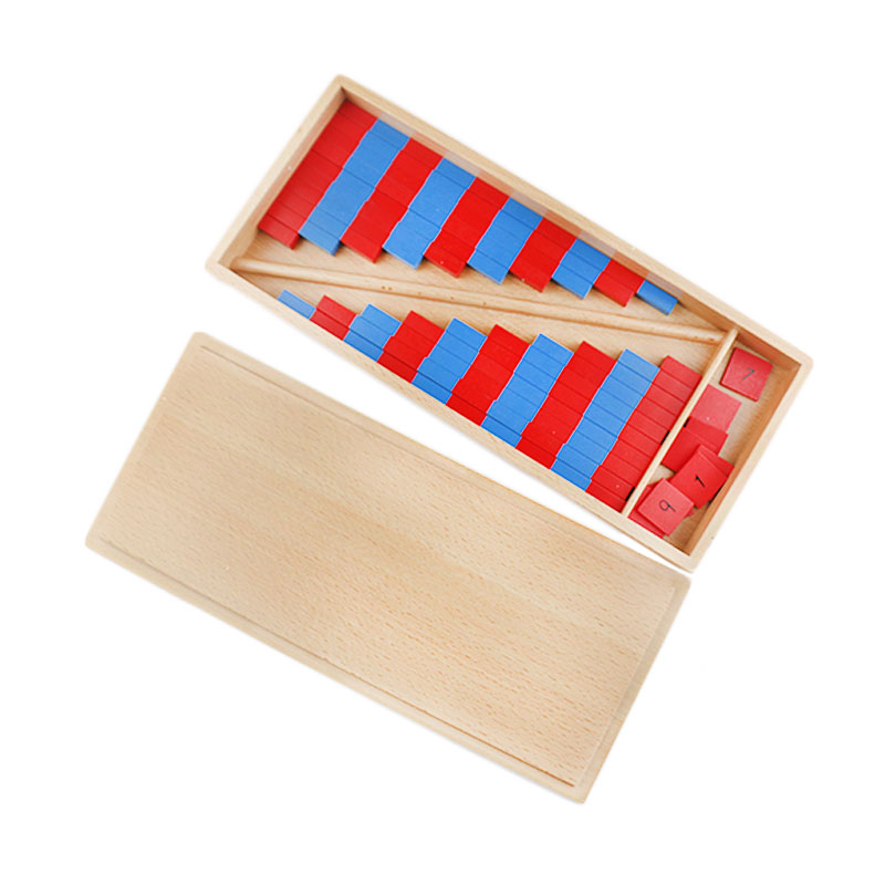 Montessori Educational Wooden Toys Math Toy Red and Blue Stick Montessori Materials Preschool Math Toys For Children UC0466H montessori math toys montessori materials preschool geometry constructive triangles color equilateral triangle ud2065h