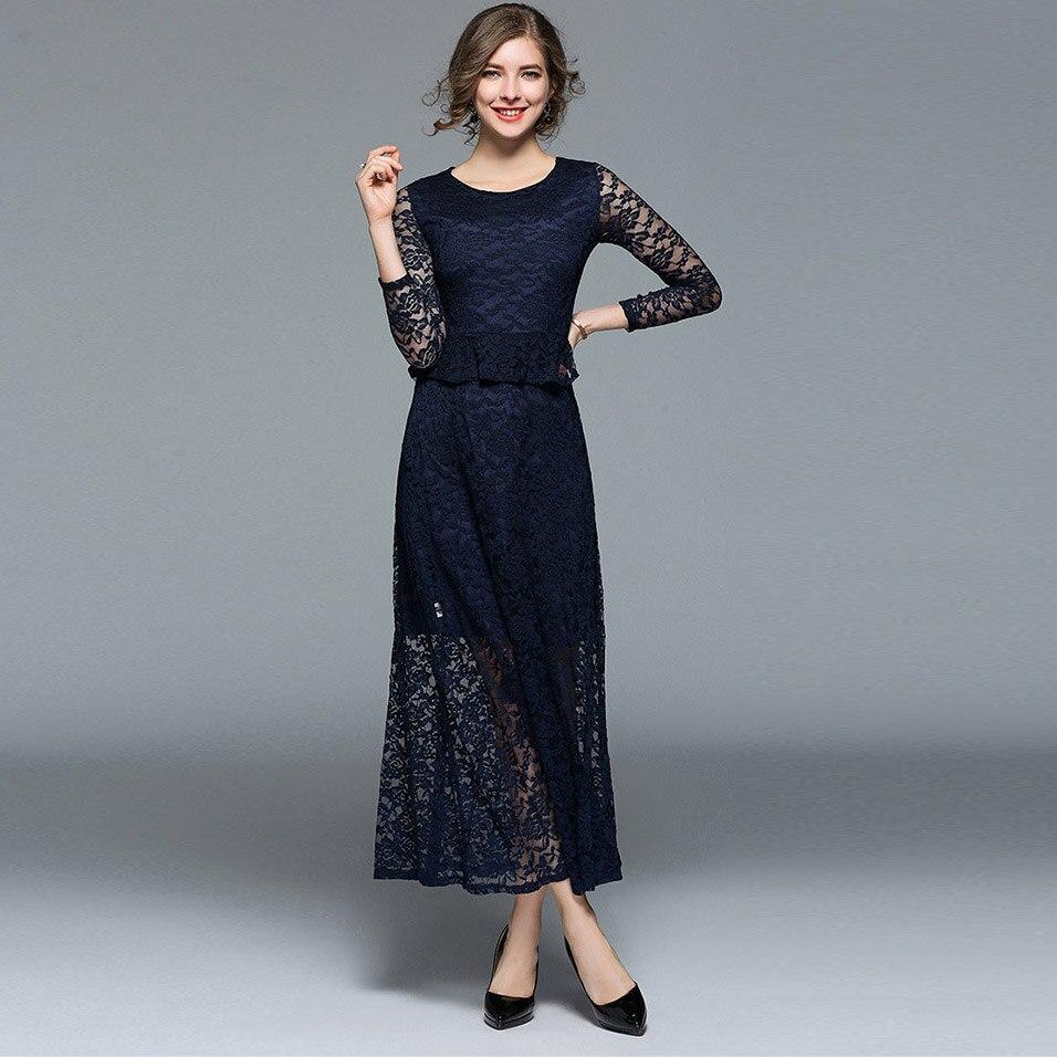 Womens Dress 2018 Boho Elegant Lace Long Sleeve Evening Party ...