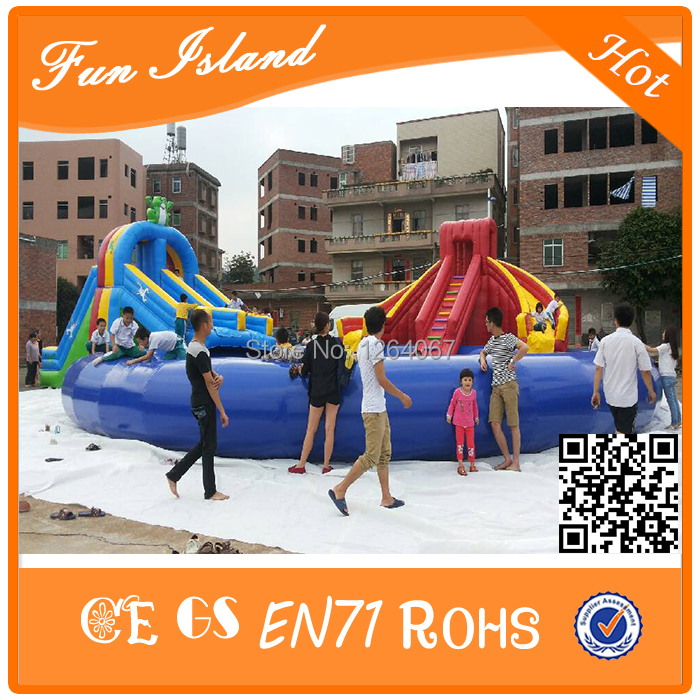Commercial Inflatable water slide with water pool for rental business,big inflatable slide 2017 popular inflatable water slide and pool for kids and adults