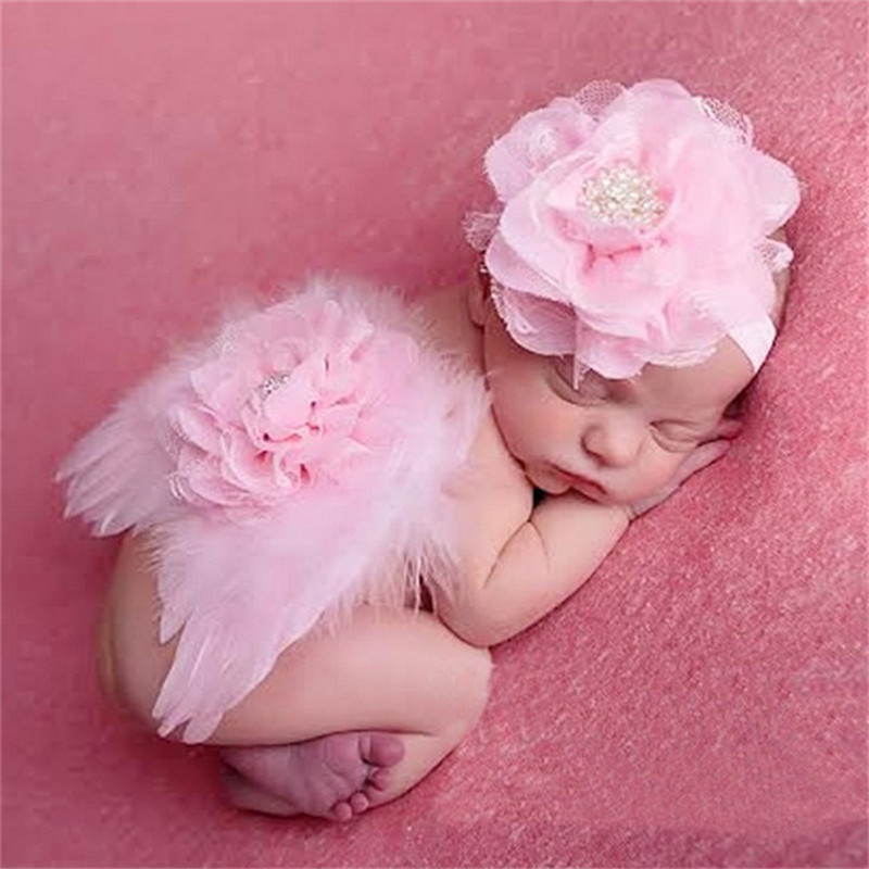 Newborn Photography Props Feather Angel Wings Flower Shower Gifts Girls Boy Hat Baby Photo Props Outfits