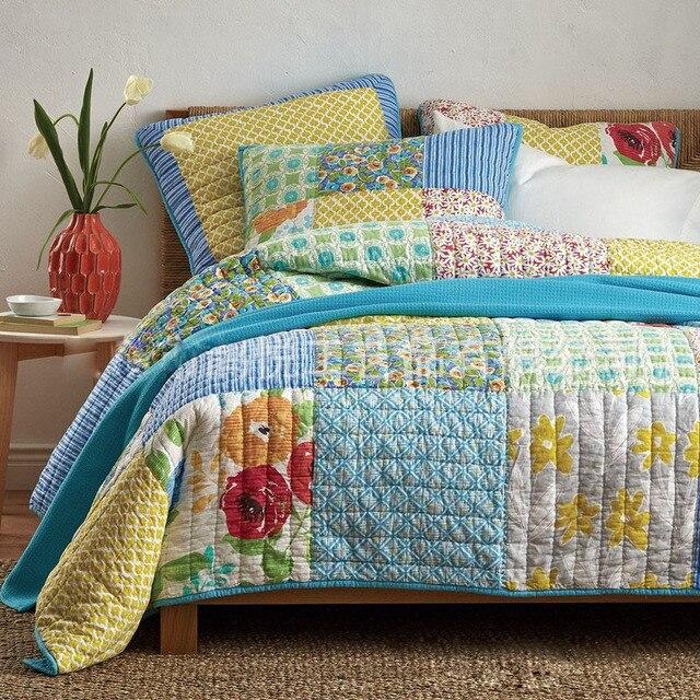 CHAUSUB Handmade Patchwork Quilt Set 3PCS Washed Cotton Quilts ... : patchwork quilt handmade - Adamdwight.com