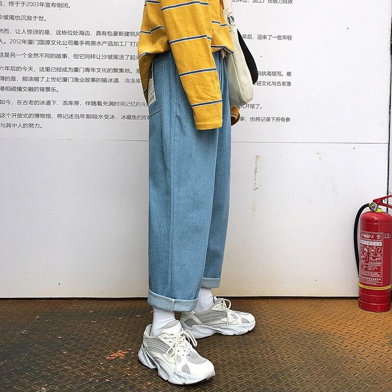 2019 New Mens Biker Stretch Loose Classic PATCH Jeans Holes  Denim Famous Brand Casual Straight Harem Pants Blue/black  TrousersJeans