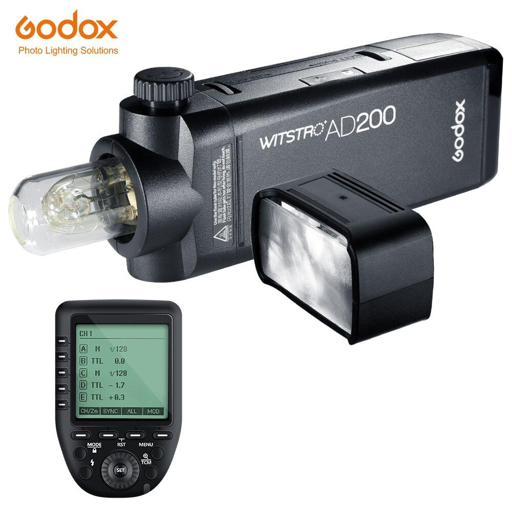 Godox AD200 200Ws TTL GN60 High Speed Sync Pocket Flash + Godox Xpro-C/N/F Transmitter For Canon Nikon Fujifilm Camera Pentax