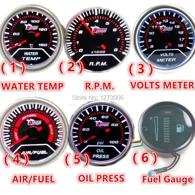 "1Pcs 12V 2""(52mm) LED Smoke Lens WATER TEMP/RPM/VOLT VOLTER/AIR FUEL/OIL PRESS/Fuel Gauge Car Auto Gauge/Tachometer Car Meter"
