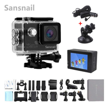 цена на Sansnail Action camera Ultra HD 4K 24fps WiFi NTK96660 2.0 inch 16MP 170D Len Helmet Cam Waterproof 30M Extreme Sport Cam
