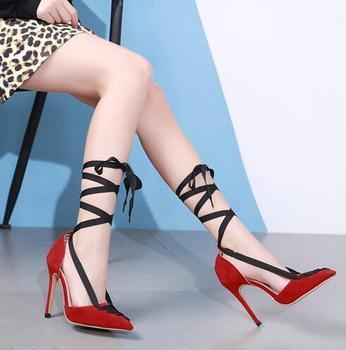 Escarpins Noirs à Lanières | Femmes Rouge Daim Noir Ruban à Lacets Chaussures De Mariage Talon Aiguille Bout Pointu Croix à Bretelles Robe Pompes Mixte Couleur Pompe