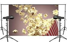 Surprising moments Popcorn jumps out of the box Children photography studio Warm background 150x220cm