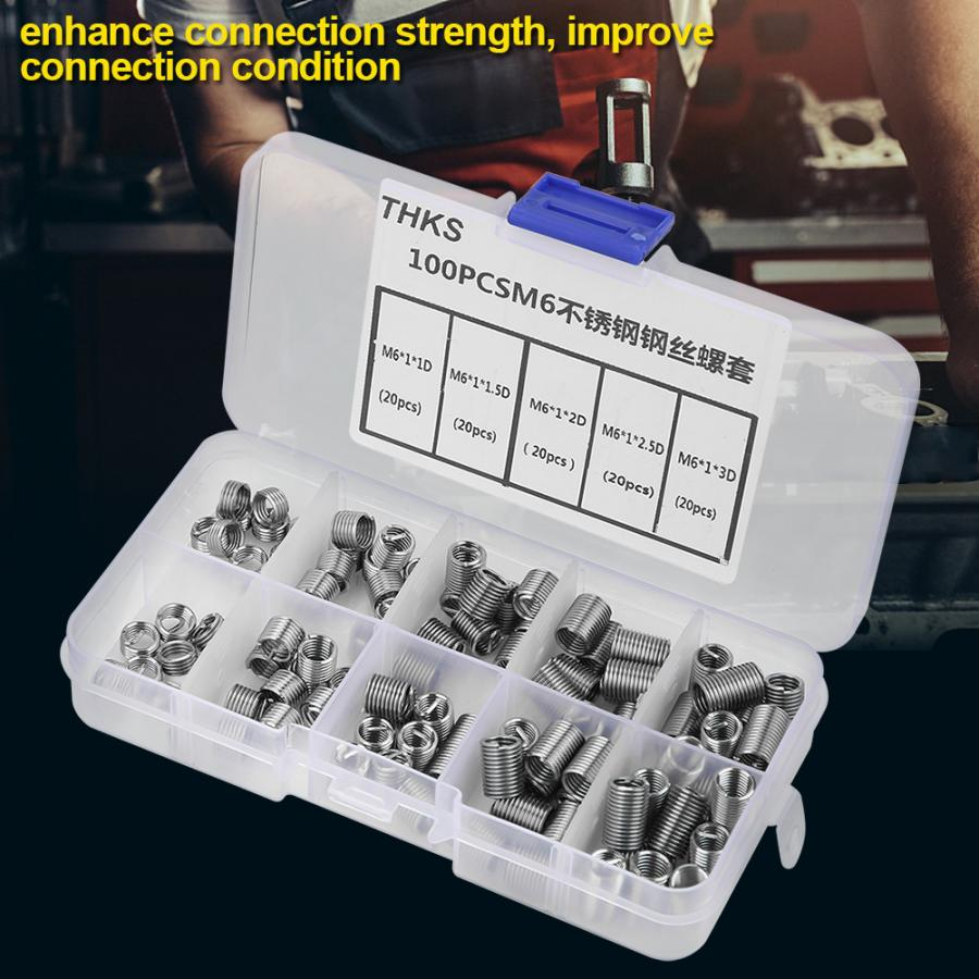 100Pcs/Set Wholesale M6 Thread Insert Stainless Steel Screw Coiled Wire Helical Threaded Inserts Set Thread Repair Kit