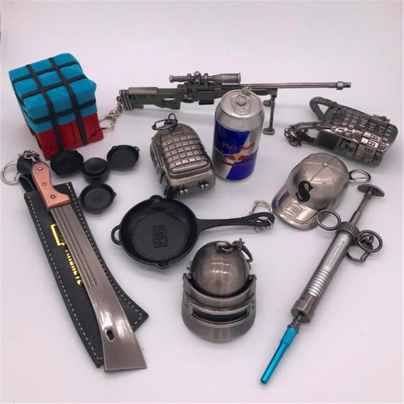 Game PUBG Chain Keychain AWM M24 98K ALL Rifle Model Player unknown's Battlegrounds Cosplay Costumes Props Alloy Armor Key chain