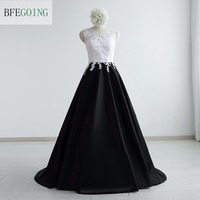 White Black Satin A Line Formal Evening Dress Floor Length Sleeveless Court Train Real Original Photos