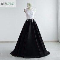 White &Black Satin A-line Formal Evening Dress Floor-length Sleeveless Court Train Real/Original Photos Custom Made