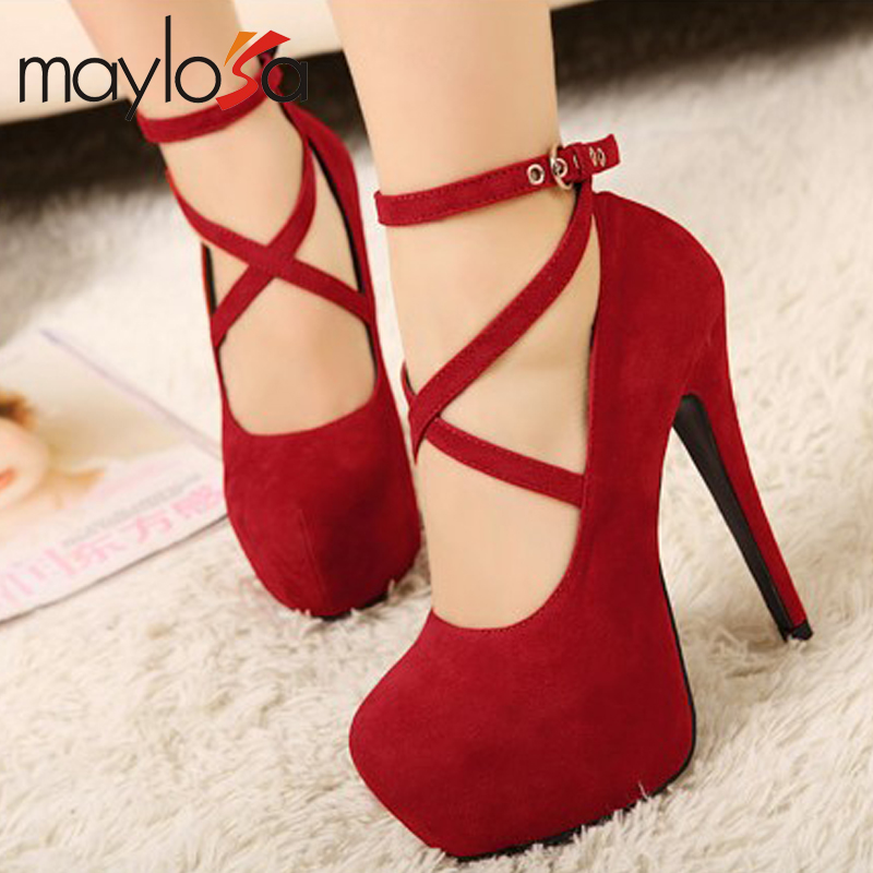 Hot Selling font b Women b font Pumps Platform Thin Heels 14cm Cross Strap font b