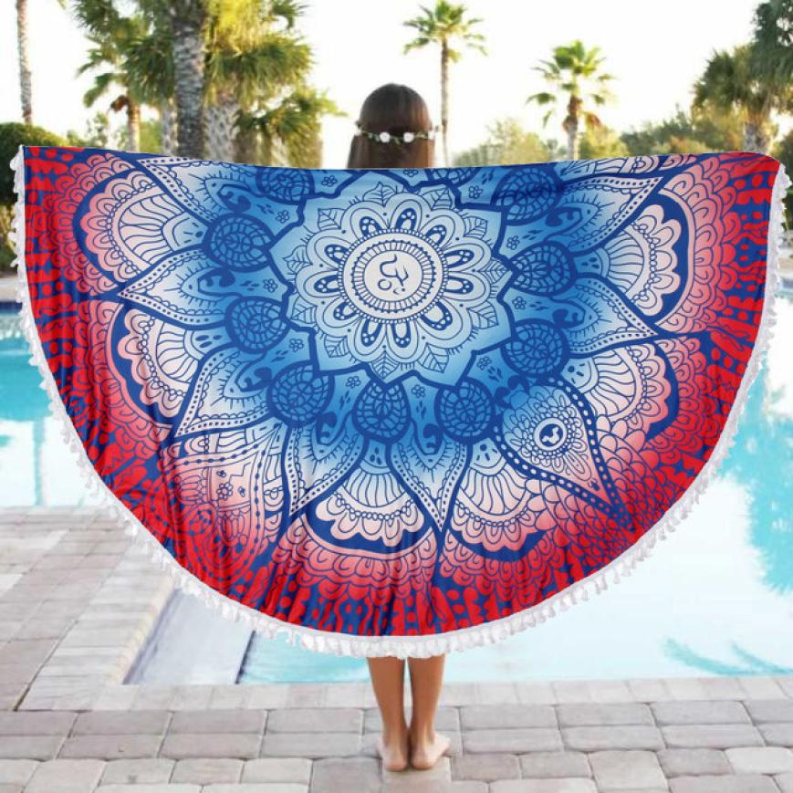 2018 NEW Round Beach Pool Home Shower Towel Blanket Table Cloth Yoga Mat Free Drop Shipping F28