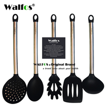 WALFOS 100% FOOD GRADE silicone cooking spoon soup ladle egg spatula turner kitchen tools Stainless Steel Cooking Utensil Set