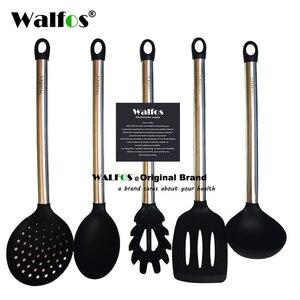 Image 1 - Walfos 100% Food Grade Siliconen Koken Lepel Soeplepel Ei Spatel Turner Keuken Gereedschap Roestvrij Staal Kookgerei Set