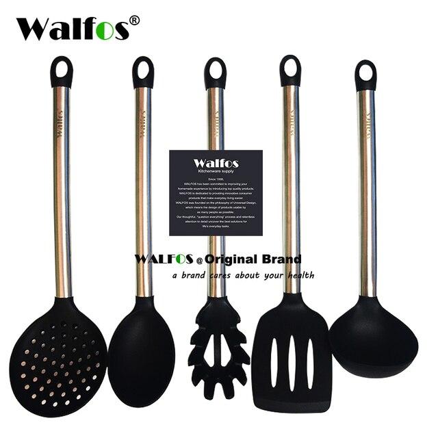 Walfos 100% Food Grade Siliconen Koken Lepel Soeplepel Ei Spatel Turner Keuken Gereedschap Roestvrij Staal Kookgerei Set
