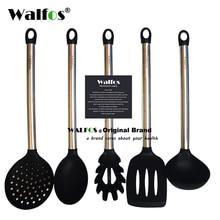 Walfos 100% grau alimentício silicone cozinhar colher sopa concha ovo espátula turner utensílios de cozinha de aço inoxidável conjunto