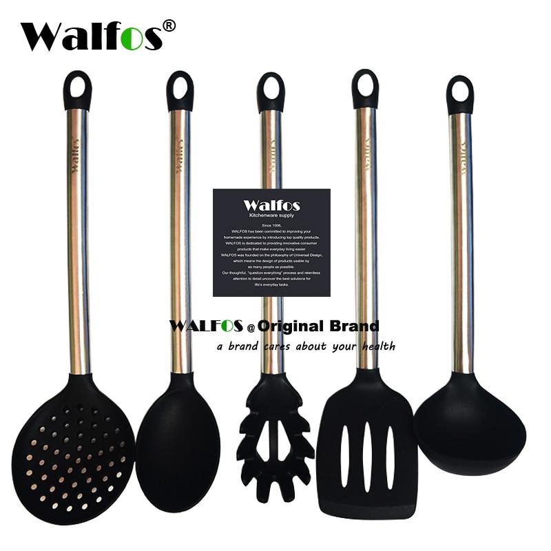 Walfos 100% пищевой силикон Пособия по кулинарии ложка половник-яйцо шпатель Тернер кухонный инвентарь Нержавеющаясталь Пособия по кулинарии набор посуды