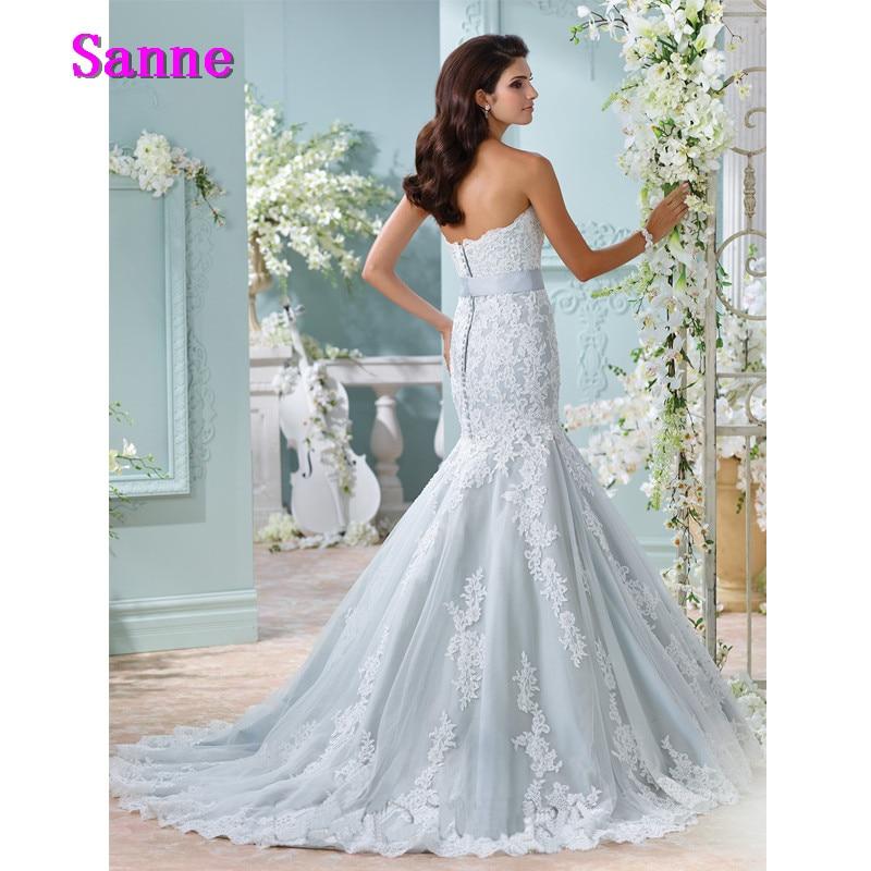 New Arrival Light Blue Wedding Gown Strapless Bride Dress Applique ...