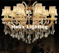 New Arrival Gold Color Crystal Chandelier Light Fixture Coffee Chrystal Lamp For Hotel Restaurant Lobby Foyer