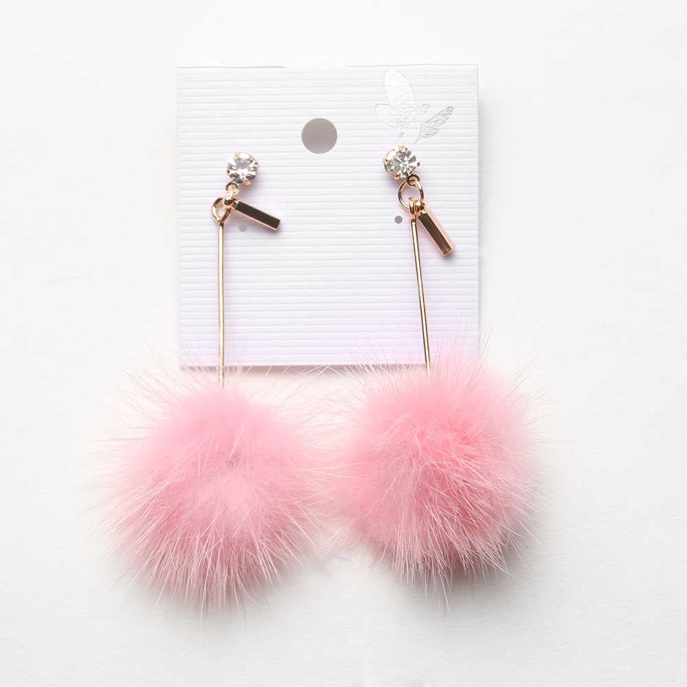 1 Pair New Arrival Cute Faux Fur Pompom Ball Dangle Earrings Long Drop Earring for Women Costume Cute Party Festivel Gifts