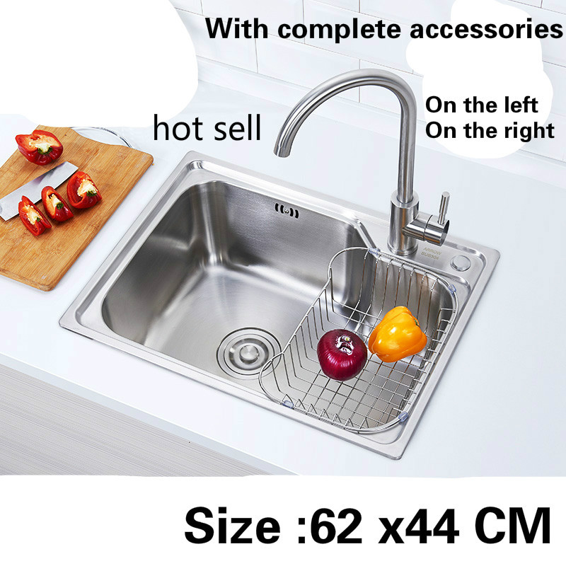 Free shipping Food grade 304 stainless steel kitchen sink 0.7 mm ordinary single slot On the left. Right hot sell 62 x44 CMFree shipping Food grade 304 stainless steel kitchen sink 0.7 mm ordinary single slot On the left. Right hot sell 62 x44 CM