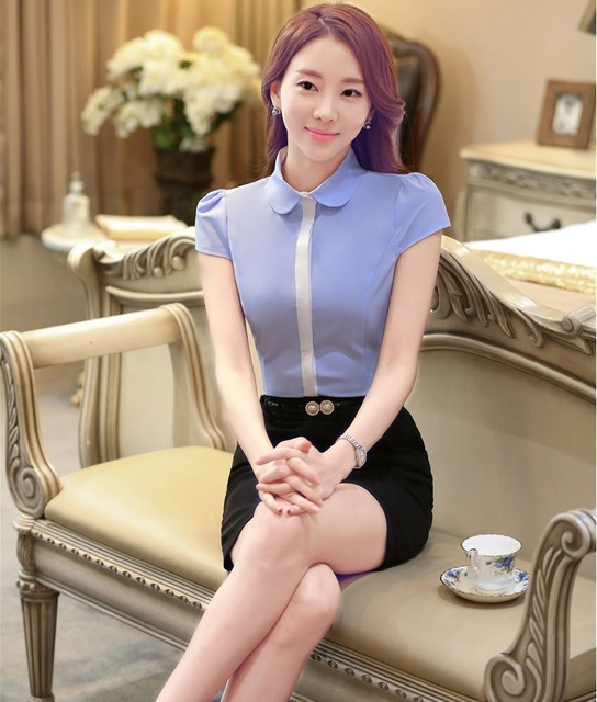 New Arrival  Fashion 2016 Summer Short Sleeve Professional Business Suits Tops And Skirt Ladies Shirts Blouse Outfits Sets