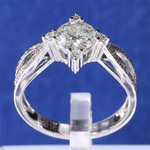 Classic Design TransGems 1 ct Carat Lab Grown Moissanite Real Diamonds Accents Wedding Rings Solid 14K White Gold Women Band