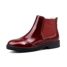 Фотография KSJYWQ Genuine leather Ankle Red Boots 3.5 CM Chunky Heels Chelsea Boot Slip-on Ladies Platform Shoes for Party Box Packing 8808