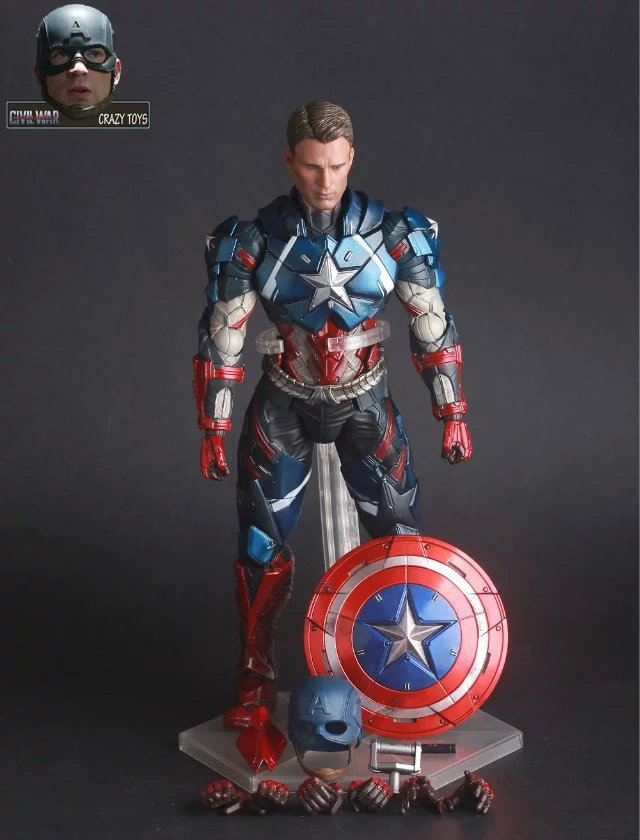 Crazy Toys Civil War Captain America PVC Action Figure Collectible Toy 10 25cm