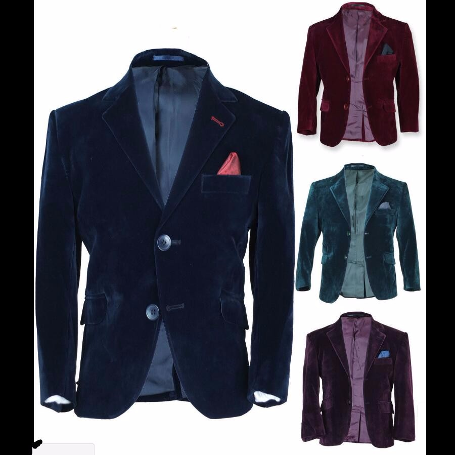 12.1 High quality velvet coat formal wedding custom best man suit jacket two grain of buttons lapel men jacket