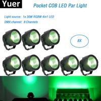8Pcs/Lot 30W RGBW 4IN1 LED COB Par Lights Stage Wash Effect Lights DMX Disco Lights LED Pocket Par DJ Lighting Projector Led Par