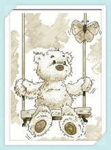 Teddy Bear and Butterfly Cross-Stitch Kit A1570 on a swing 11CT accurate printed cloth(China)