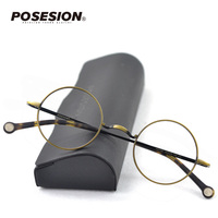 Posesion New Vintage Round Designer Men Metal Eyeglasses Frame Myopia Optical Eyewear Frames Clear lens glass For Women