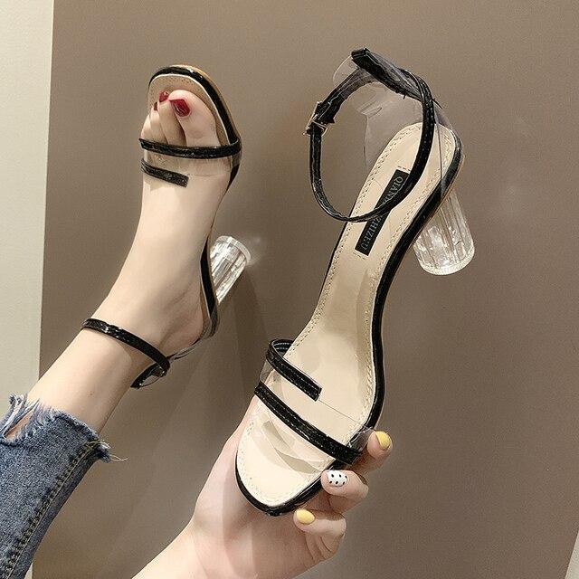 Verano moda PVC jalea sandalias de cristal de Punta abierta tacones altos mujeres Sandalias de tacón transparente zapatos de fiesta sandalias de playa zapatos de señora