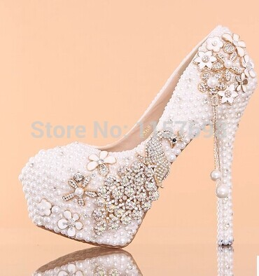 New arrival white pearl bridal shoes high-heeled platform crystal anti-slip soles diamond comfortable formal dress shoes wedding luxurious ecru white bridal shoes crystal diamond 5cm low heeled shoes elegant imitation pearl wedding dress shoes