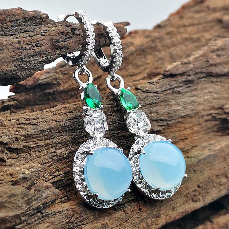 Новинка, винтажные элегантные висячие серьги с голубыми кристаллами и цирконием для женщин, ювелирные изделия, свадебные серьги-капли, серьги для помолвки
