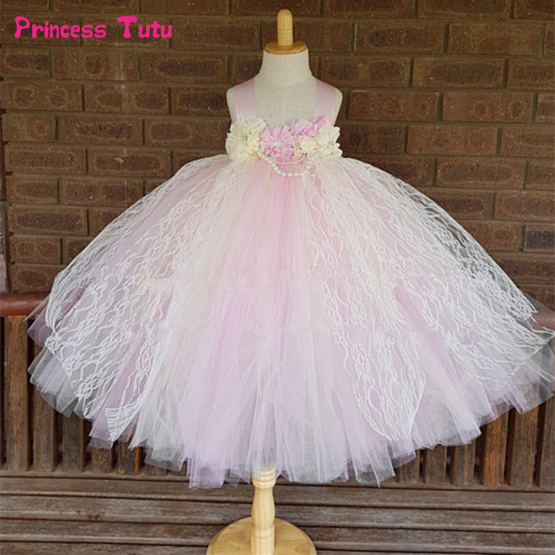 Ivory Pink Flower Girl Dress Princess Ball Gown Vintage Lace Tulle Flower Girl Tutu Dress Baby Girl Wedding Birthday Party Dress 2018 lovely baby infant toddler little girls birthday dress long sleeve lace tulle flower girl dress tutu ball gowns