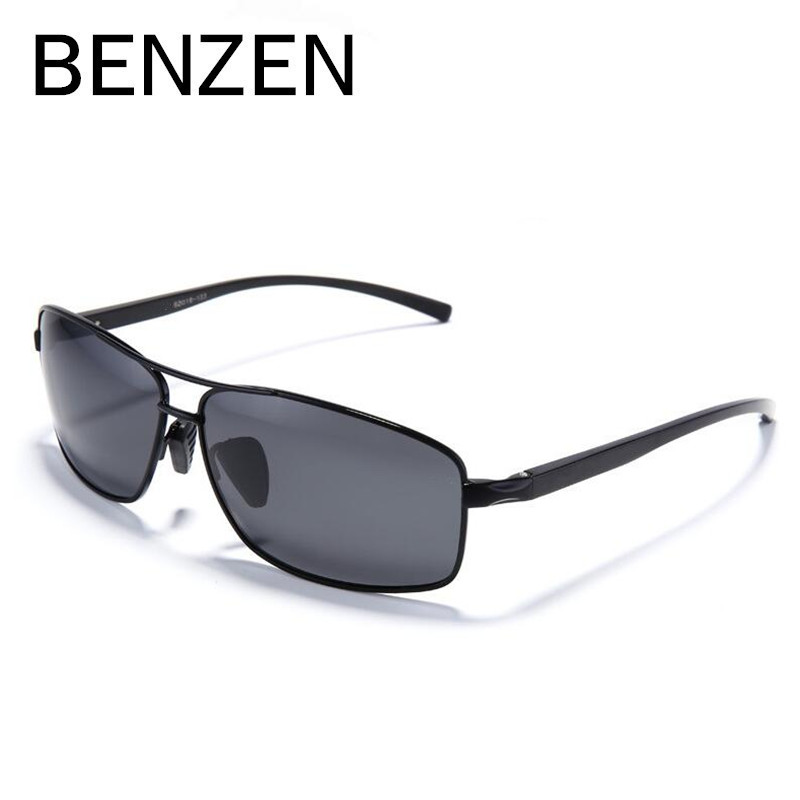 BENZEN Rectangular HD Polarized Sunglasses Men Al-Mg Frame Male Driver Driving Sun Glasses UV Protection Eyewear With Box 9212