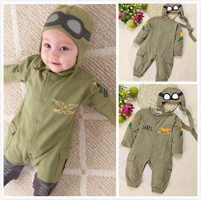 цена на 2 Pcs Summer Autumn Baby Kids Boy Infant Pilot Letter Printed Cotton Romper+Cap Jumpsuit Outfits Set Clothes 6-24M