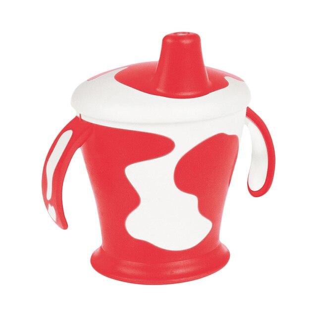 Чашка-непроливайка Canpol с ручками, 250 мл. Little cow 9+, цвет: красный