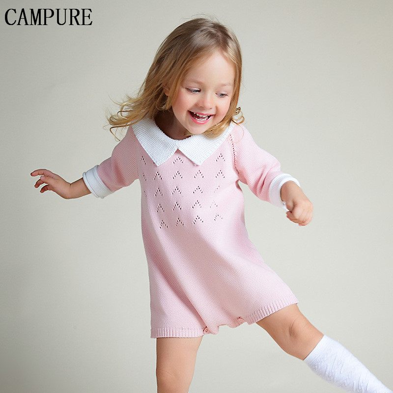 2016 New  Fashion Baby Girl Sweater Dress  Girl Rompers Dress Three Quarter Peter Pan Collar Soft Sweet Girl Dress Baby Jumpsuit