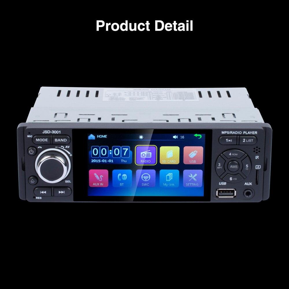 Car Radio 1 din jsd 3001 Autoradio 4 1 Touch Screen auto audio Mirror Link Stereo