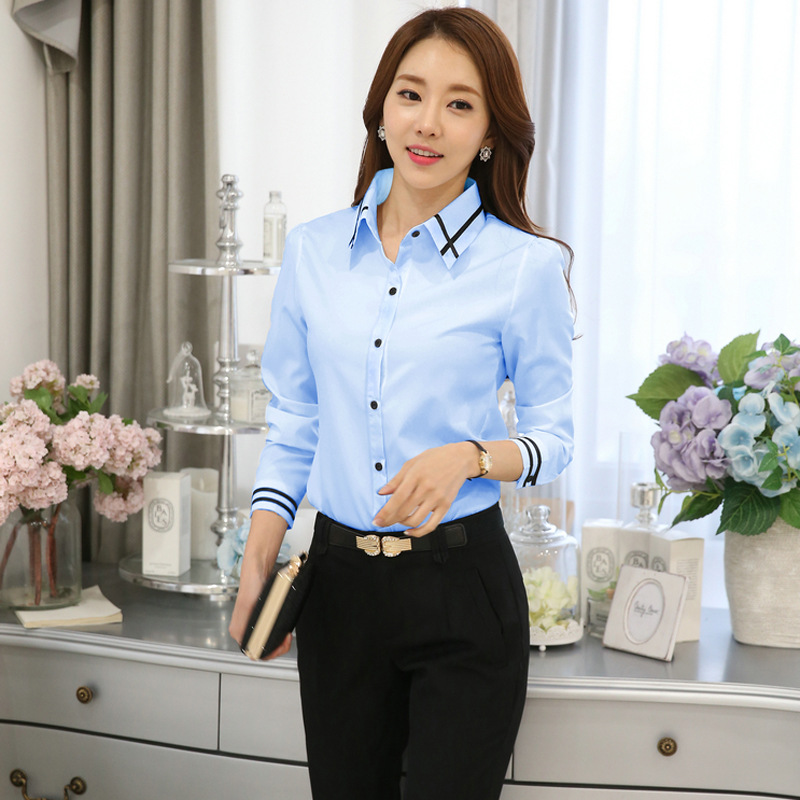 Womens Office Lady Shirt Female Chiffon Slim Blouse Plus Size Casual Long Sleeve Shirts Lady Simple Style Tops Clothing Blusas