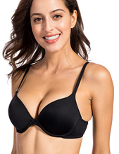 Dobreva Women's Smooth Seamless Contour Foam Cup Underwire Plunge T-shirt Bra