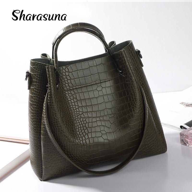 2018 New Handbag Embossed Crocodile Big Bag Leisure All match Portable Women Shoulder Messenger Bag Famous Brand Tote Bags