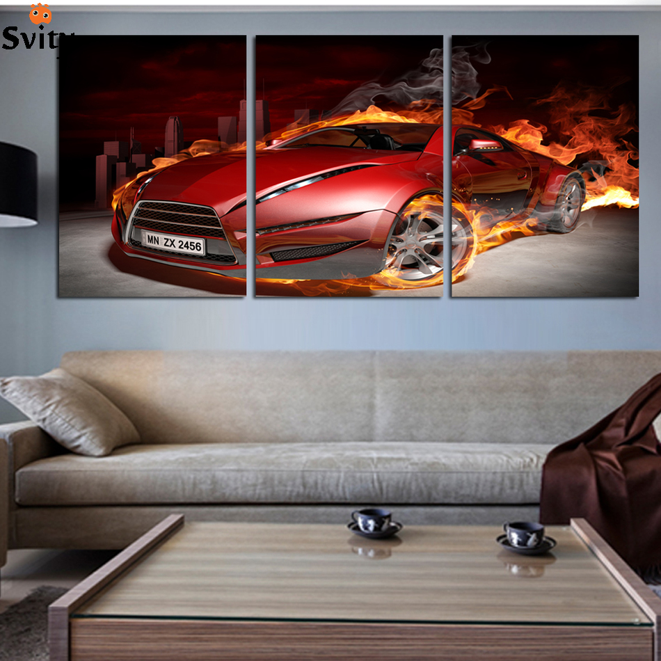 3 Pcs Red Sports fire Car Wall Art painting Home Decoration Living Room Canvas Print Painting on canvas Wall picture