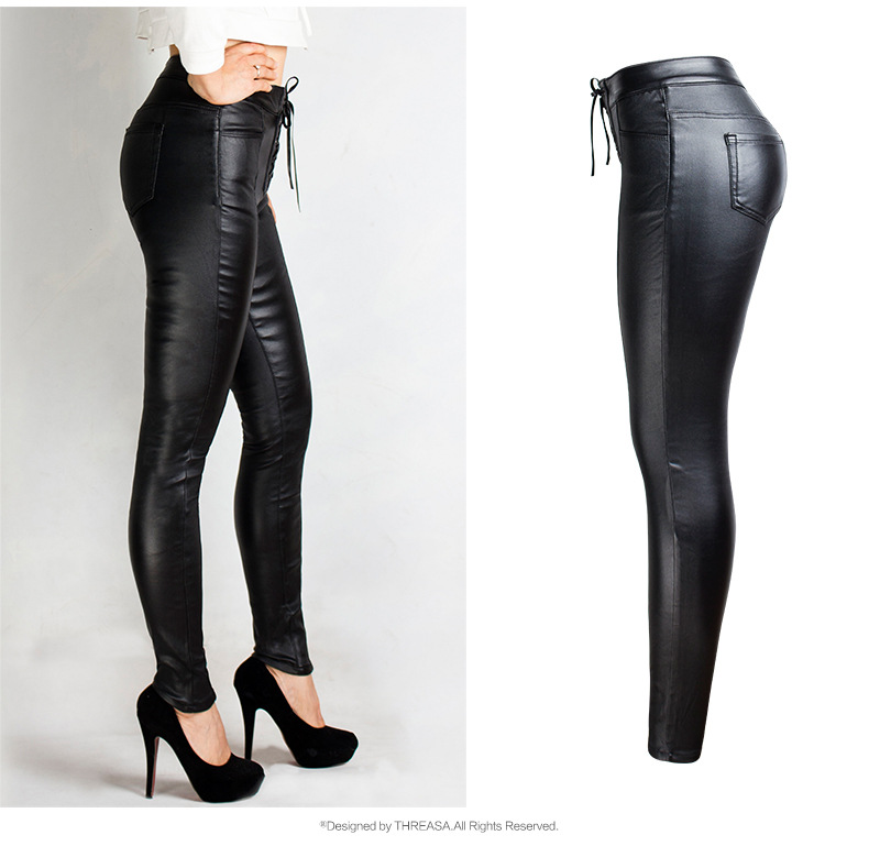 19 Winter Plus Size Stretch PU Leather Pants For Women High Waist Joggers Womens Trousers Pencil Skinny Waisted Female Pants 37