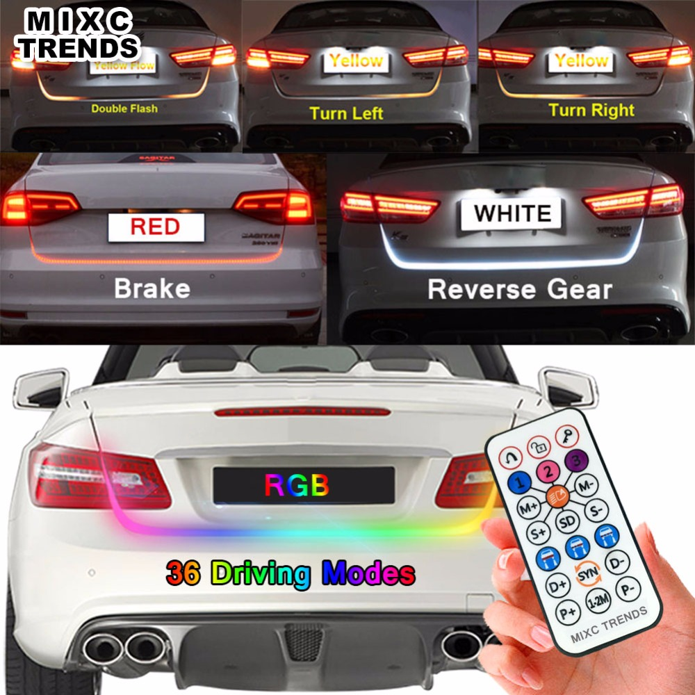 MIXC TRNEDS 120cm 150cm Wireless Remote RGB Flow LED Strip Rear Trunk Light RED Yellow White Car Brake Turn Tail Tailgate Lights keyecu 60 tailgate led strip light bar truck reverse brake turn signal tail red white